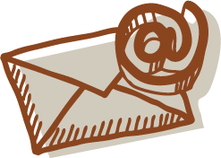 An illustration of an envelope with an @ symbol over it